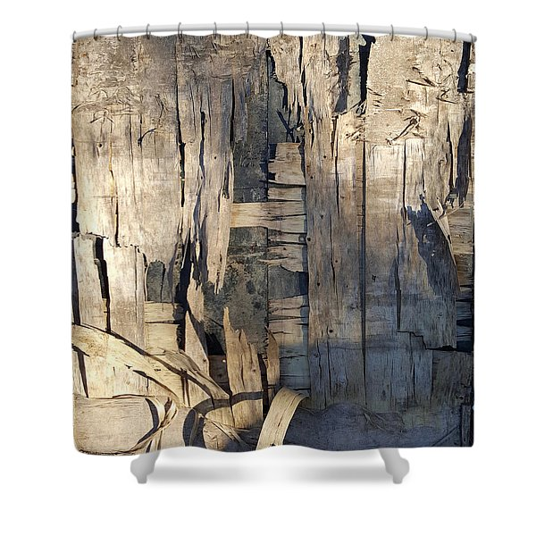 Weathered Plywood Composition Shower Curtain