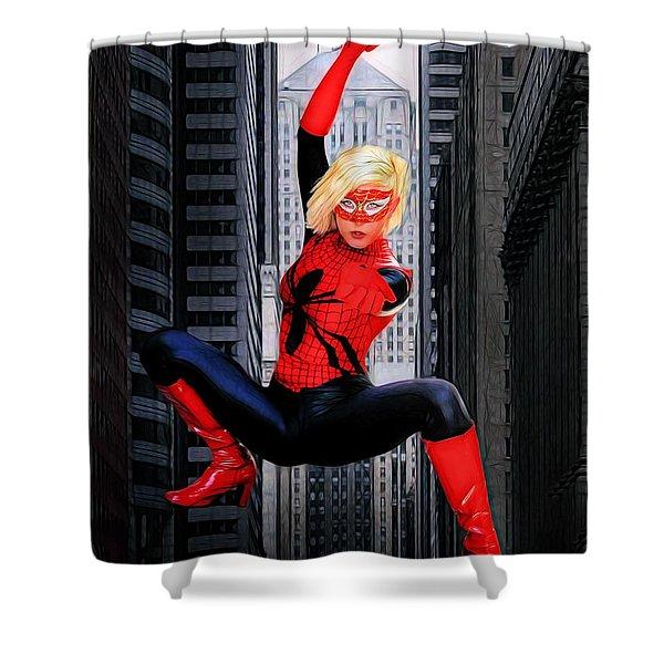 Web Swinger Shower Curtain