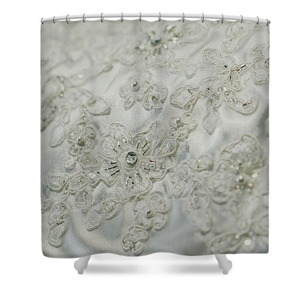 Wedding Dress Floral Beadwork Shower Curtain