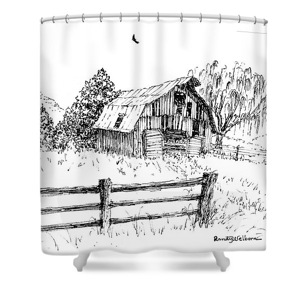Weeping Willow And Barn One Shower Curtain