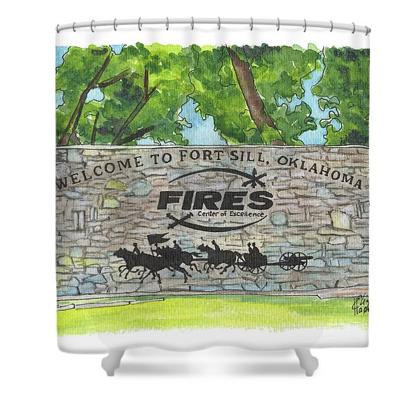 Welcome Sign Fort Sill Shower Curtain