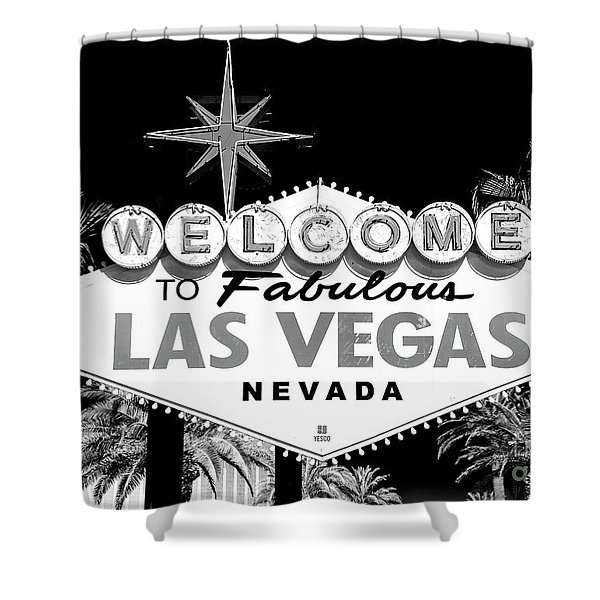 Welcome To Las Vegas Black And White Shower Curtain