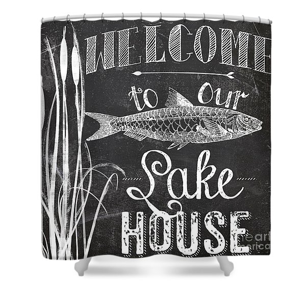Welcome To Our Lake House Sign Shower Curtain