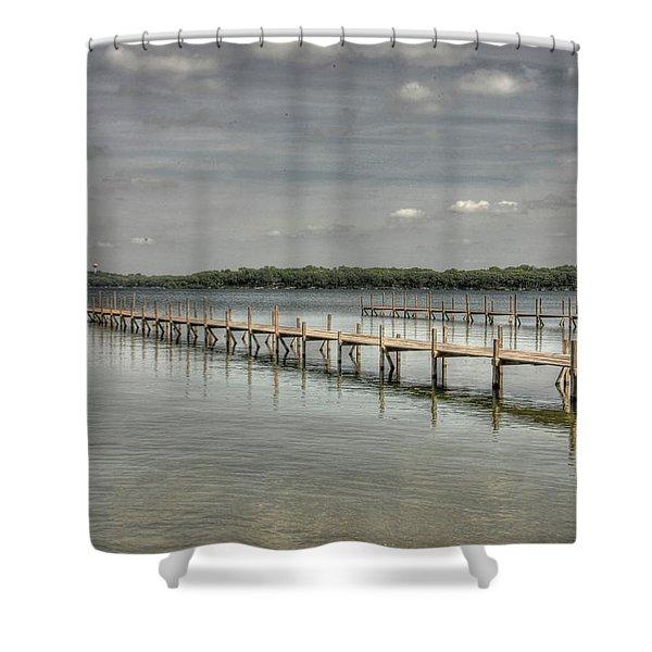 West Lake Docks Shower Curtain