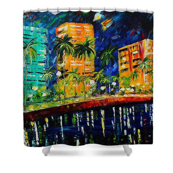 West Palm At Night Shower Curtain