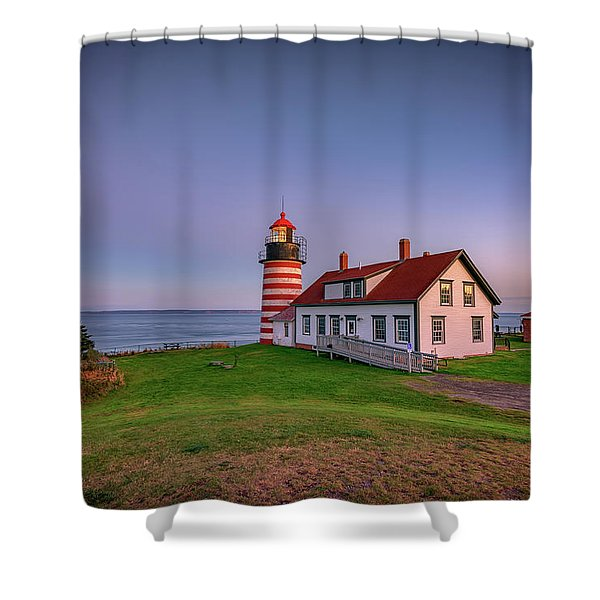 West Quoddy Head Light At Dusk Shower Curtain