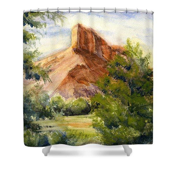 Western Landscape Watercolor Shower Curtain