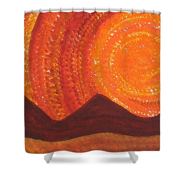 Western Sky Wave Original Painting Shower Curtain