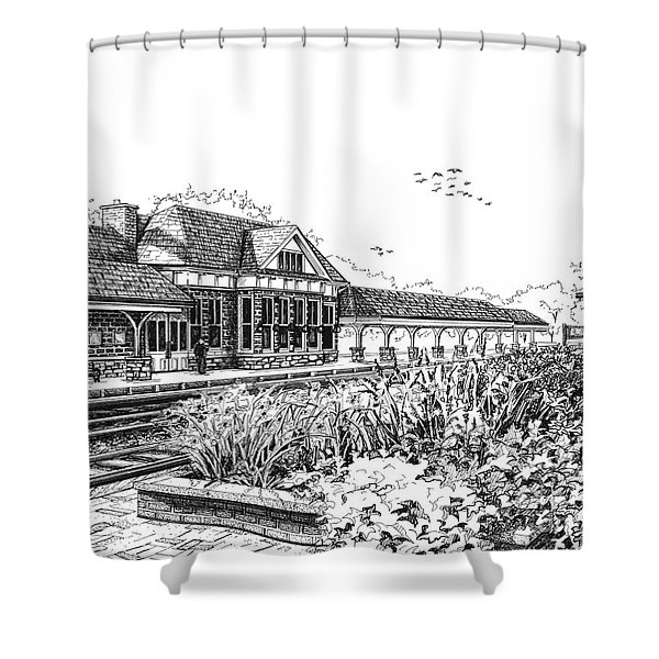 Western Springs Train Station Shower Curtain