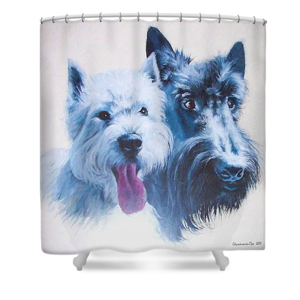 Westie And Scotty Dogs Shower Curtain
