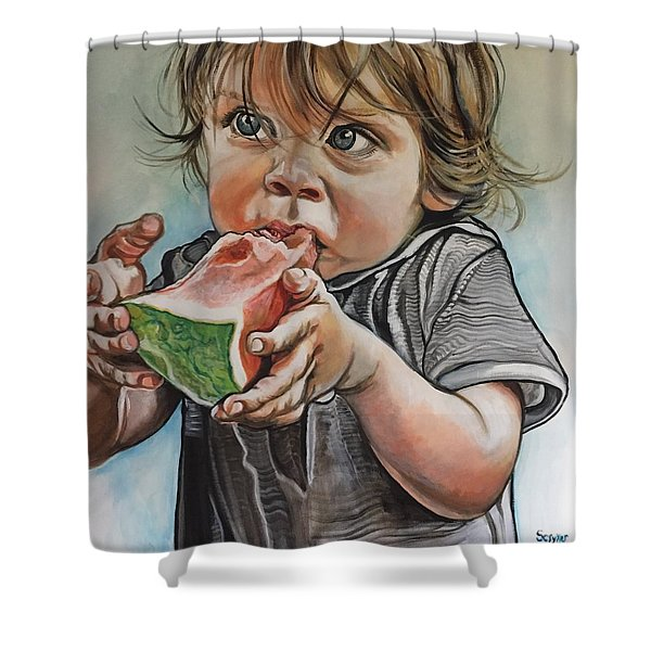 Westy And The Watermelon Shower Curtain