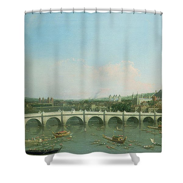 Westminster Bridge From The North With Lambeth Palace In Distance Shower Curtain