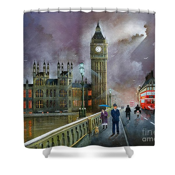 Shower Curtain featuring the painting Westminster Bridge by Ken Wood