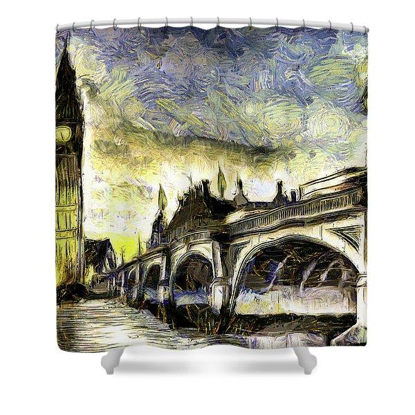 Westminster Bridge Van Gogh Shower Curtain