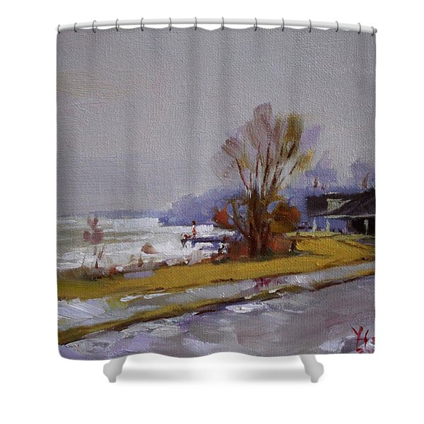 Wet And Icy At Gratwick Waterfront Park Shower Curtain