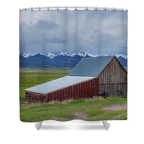 Wet Mountain Valley Barn Shower Curtain