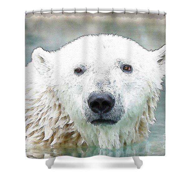Wet Polar Bear Shower Curtain