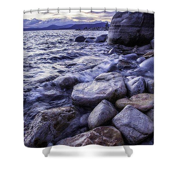 Wet Rocks At Sunset Shower Curtain