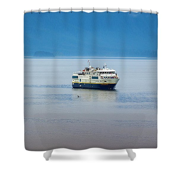 Whale Watching In Glacier Bay Shower Curtain