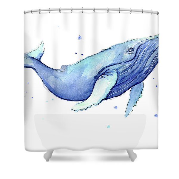 Whale Watercolor Humpback Shower Curtain
