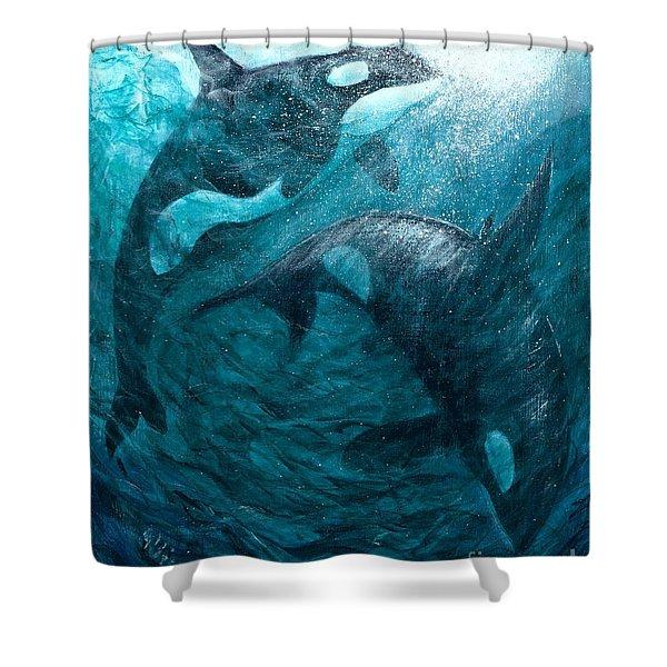 Whales  Ascending  Descending Shower Curtain