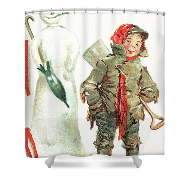 What Cheer For Christmas  Victorian Christmas Card Shower Curtain