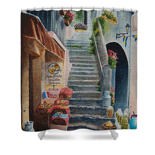 Shower Curtain featuring the painting Whats Up by Karen Fleschler