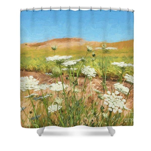 Wheat Field Wildflowers Shower Curtain