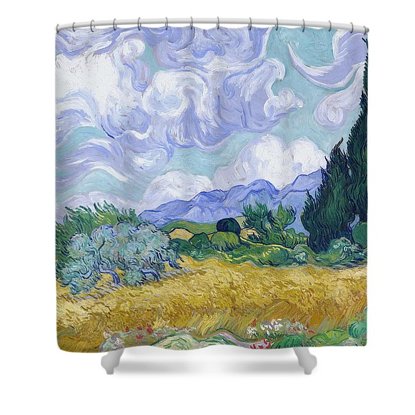 Wheat Field With Cypresses, 1889 Shower Curtain