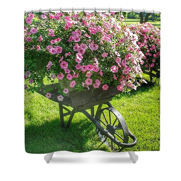 2004 - Wheel Barrow Full Of Flowers Shower Curtain
