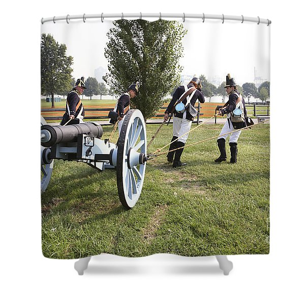 Wheeling The Cannon At Fort Mchenry In Baltimore Maryland Shower Curtain