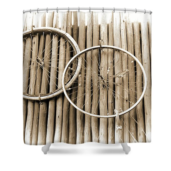 Wheels On Bamboo Shower Curtain