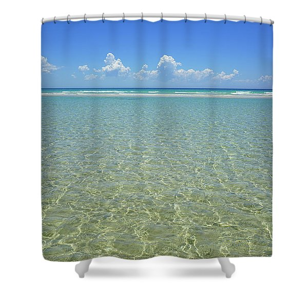 Where Crystal Clear Ocean Waters Meet The Sky Shower Curtain