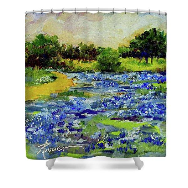 Where The Beautiful Bluebonnets Grow Shower Curtain