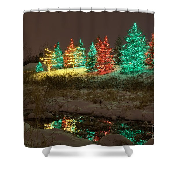 Whimsical Christmas Lights Shower Curtain
