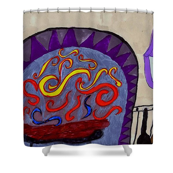 Whimsical Fireplace Abstact Art Shower Curtain
