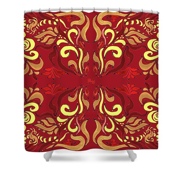 Whimsical Organic Pattern In Yellow And Red II Shower Curtain