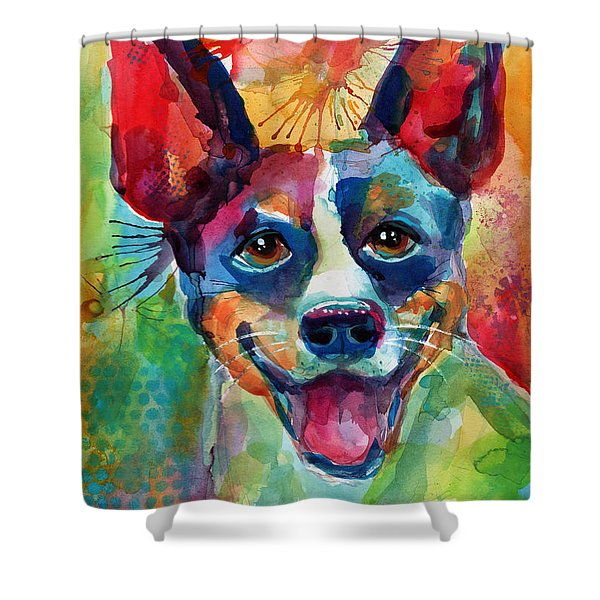 Whimsical Rat Terrier Dog Painting Shower Curtain