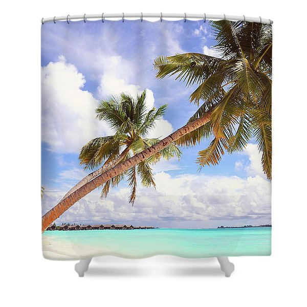 Whispering Palms. Maldives Shower Curtain