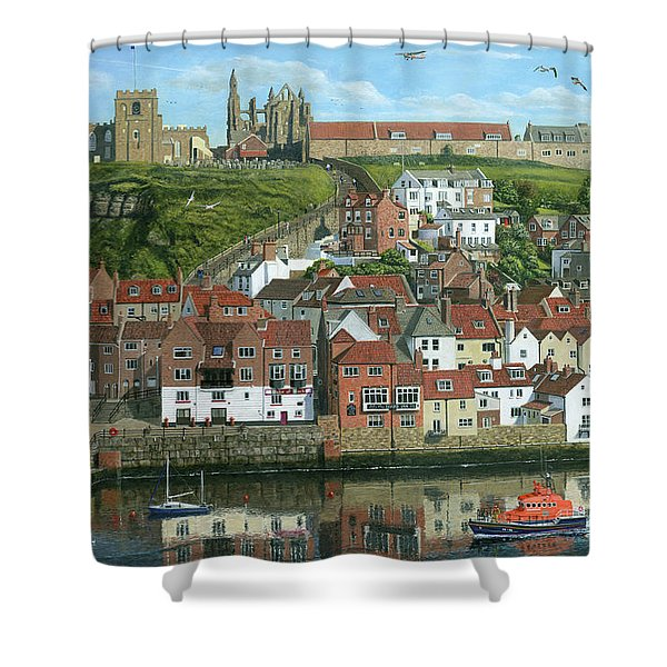 Whitby Harbor North Yorkshire  Shower Curtain