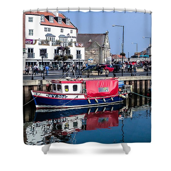 Whitby Harbor, United Kingdom Shower Curtain