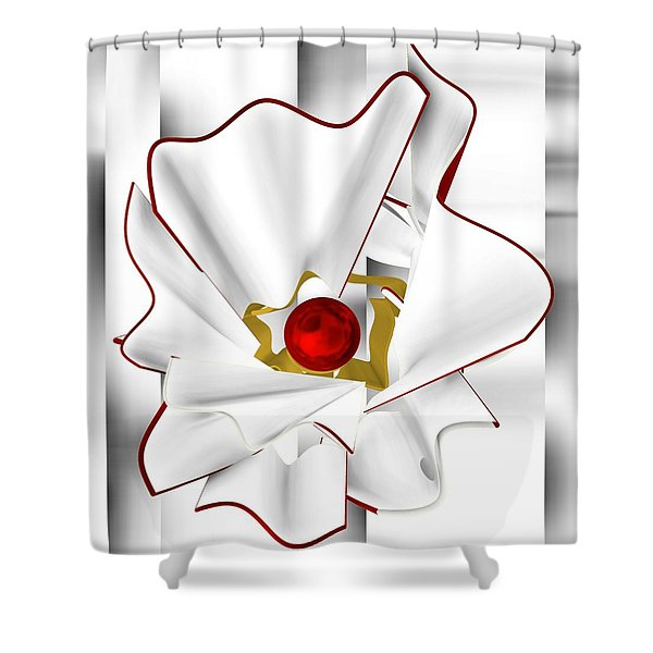 White Abstract Flower Shower Curtain