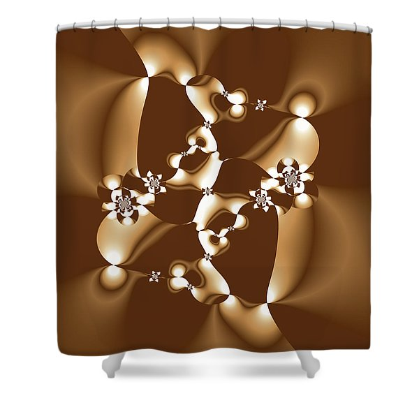 White And Milk Chocolate Fractal Shower Curtain