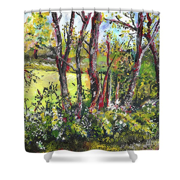 White And Yellow - An Unusual View Shower Curtain