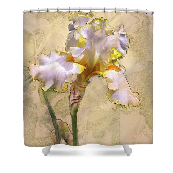White And Yellow Iris Shower Curtain