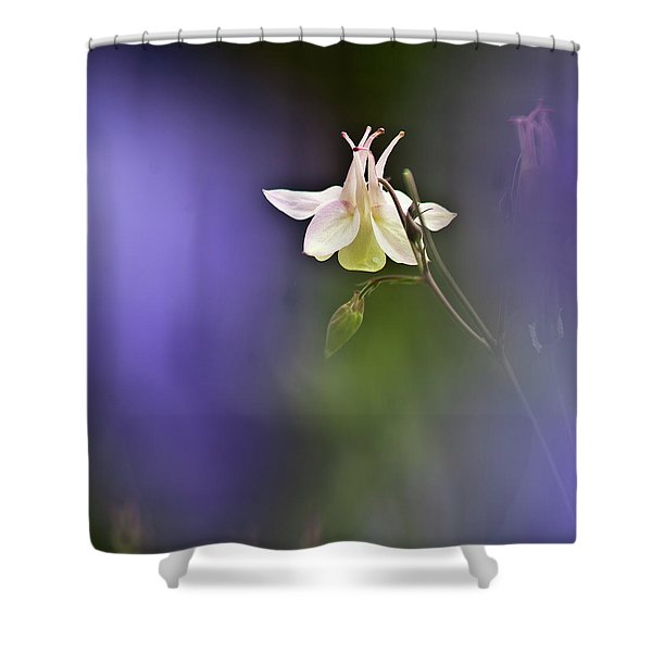 White Aquilegia Shower Curtain
