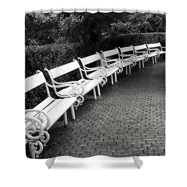 White Benches-  By Linda Wood Woods Shower Curtain