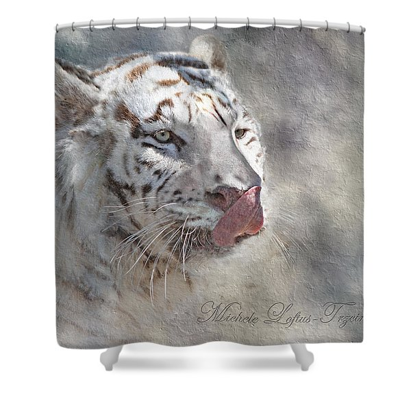 White Bengal Tiger Shower Curtain