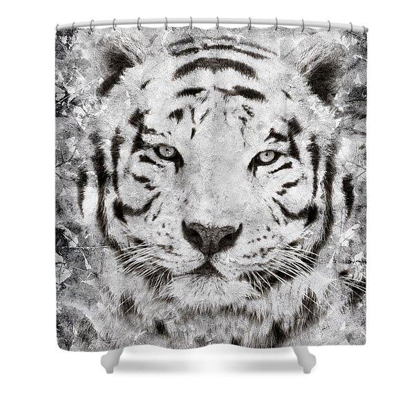 White Bengal Tiger Portrait Shower Curtain
