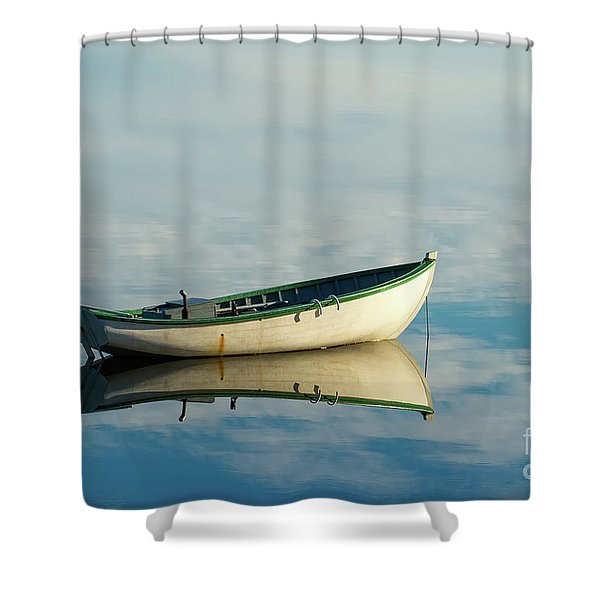 White Boat Reflected Shower Curtain